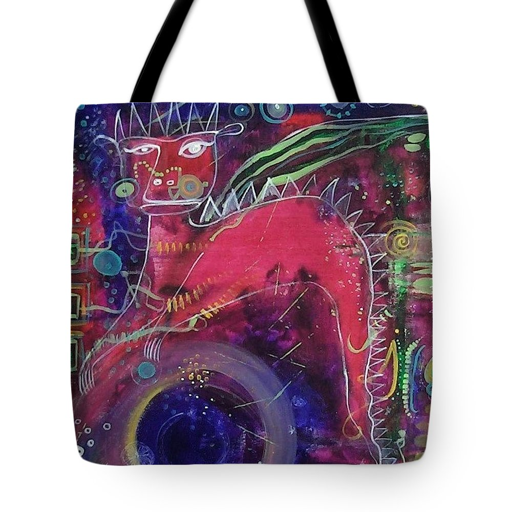 Dragon Tote Bag featuring the painting Essence Of Dragon by Micki Rongve