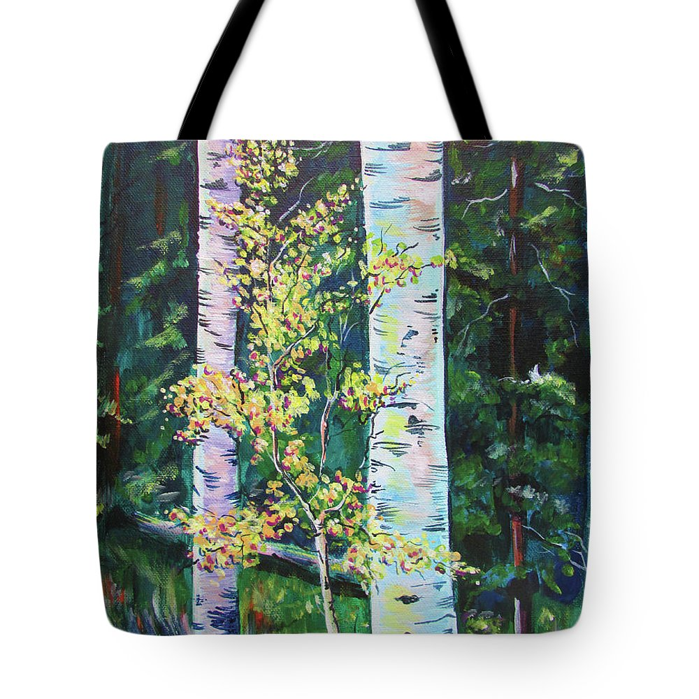 Aspen Forest Tote Bag featuring the painting Essence Of Pale Bark by Chris Pennington
