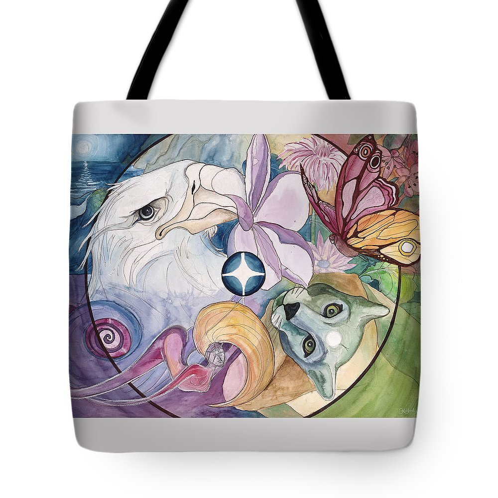 Wildlife Tote Bag featuring the painting Essence Wheel by Kimberly Kirk