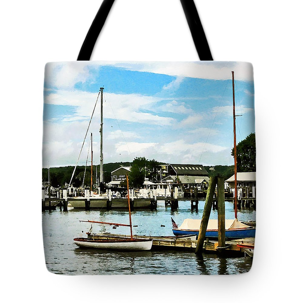 Boat Tote Bag featuring the photograph Essex Ct Marina by Susan Savad