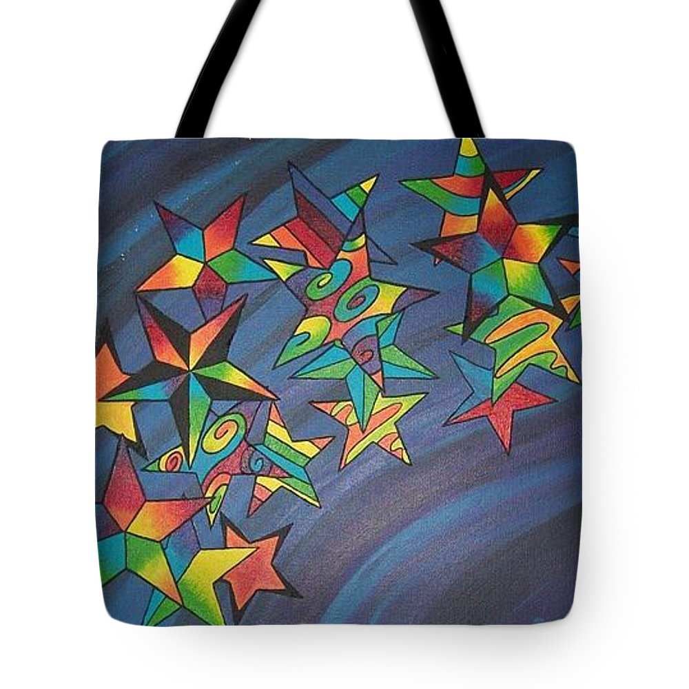 Colors Tote Bag featuring the painting Estrellas by Emmely Hillewaert