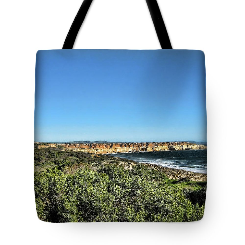 Coastline Tote Bag featuring the photograph Etched Out Of Sandstone by Douglas Barnard