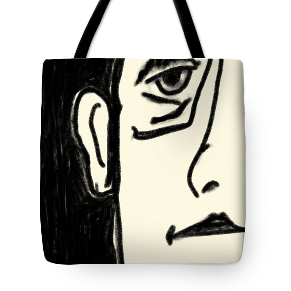 Apple Pencil Drawings Tote Bag featuring the drawing Etching 29 - Man by Bill Owen