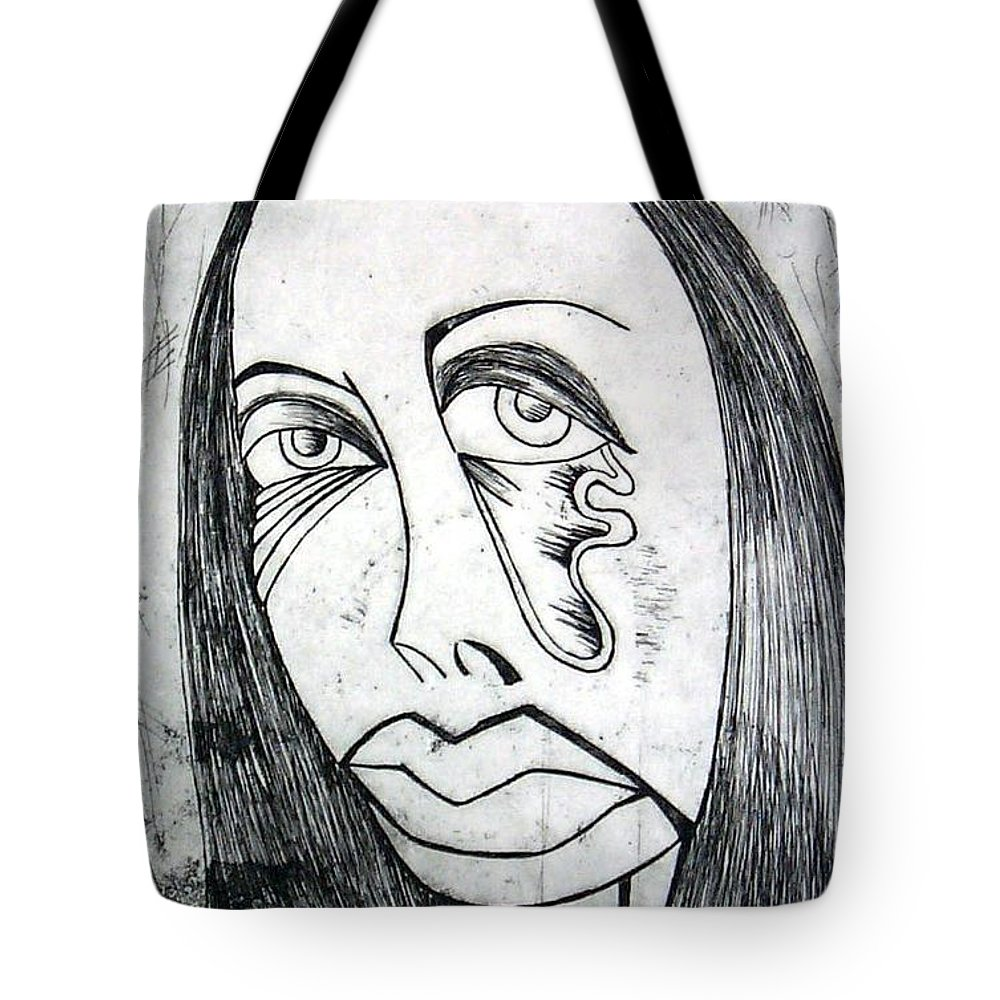 Girl Tote Bag featuring the print Etching by Thomas Valentine