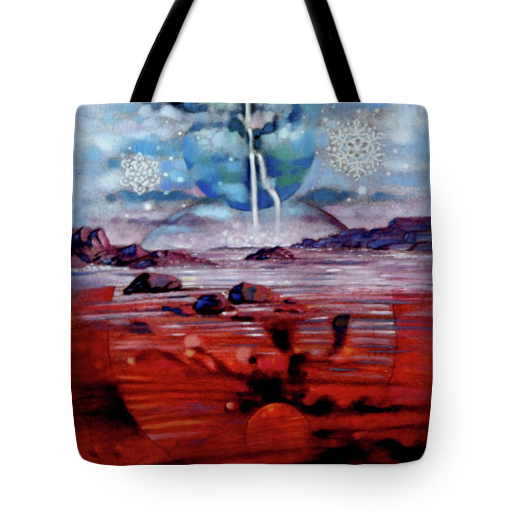 Planets Tote Bag featuring the painting Eternal Creation by John Lautermilch