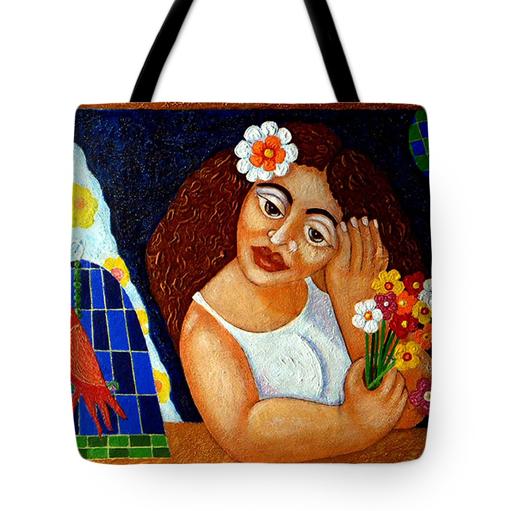 Eve Tote Bag featuring the painting Eternal Eve - II by Madalena Lobao-Tello
