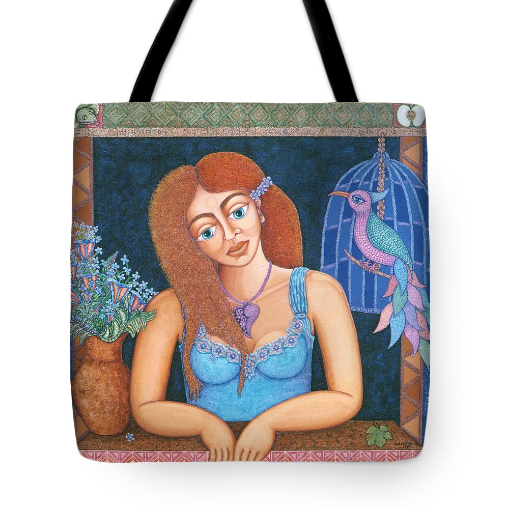 Eve Tote Bag featuring the painting Eternal Eve by Madalena Lobao-Tello
