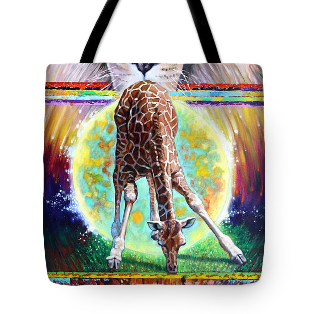 Lion Tote Bag featuring the painting Eternal Nature Of Our Universe by John Lautermilch