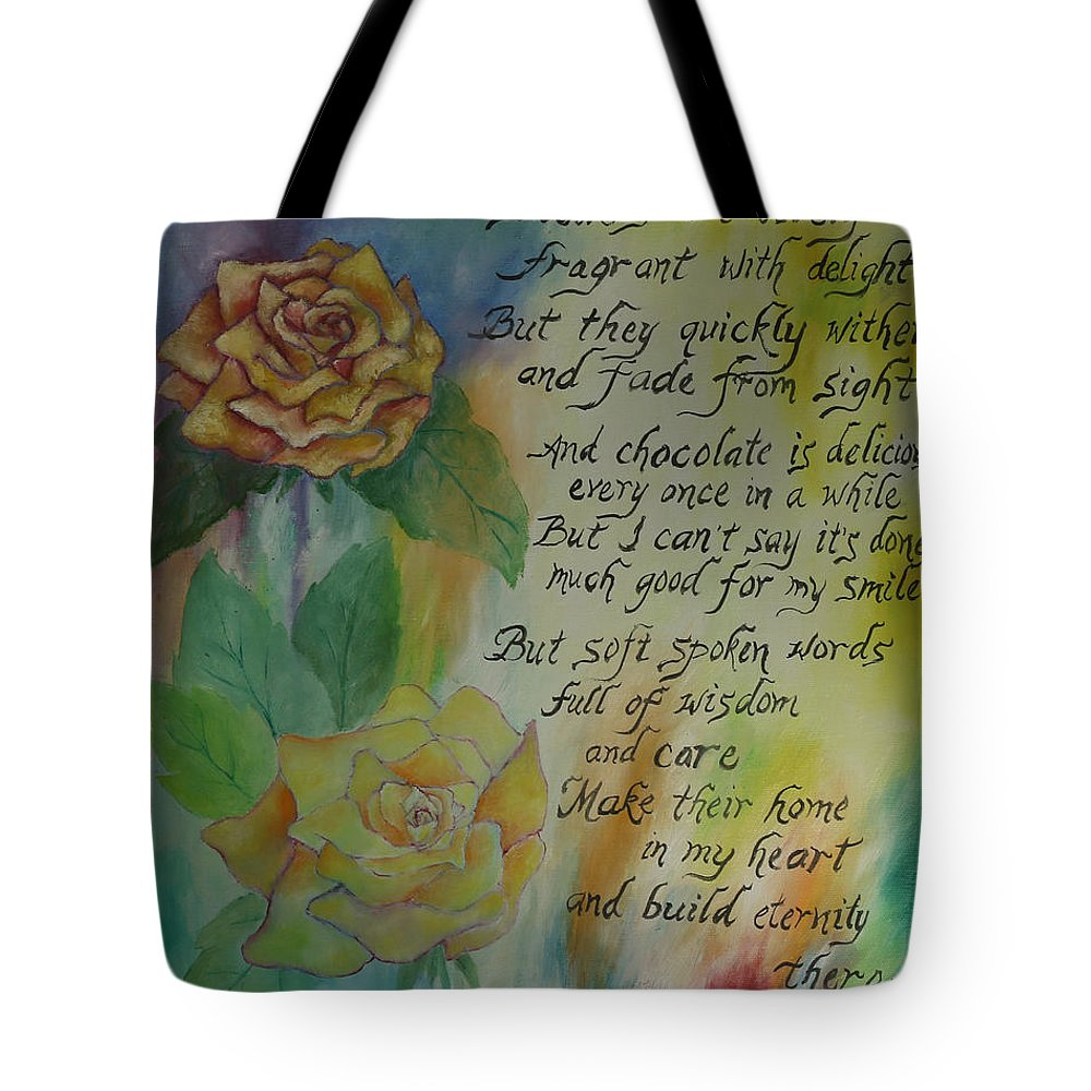 Flowers Tote Bag featuring the painting Eternity by Miriam Leah