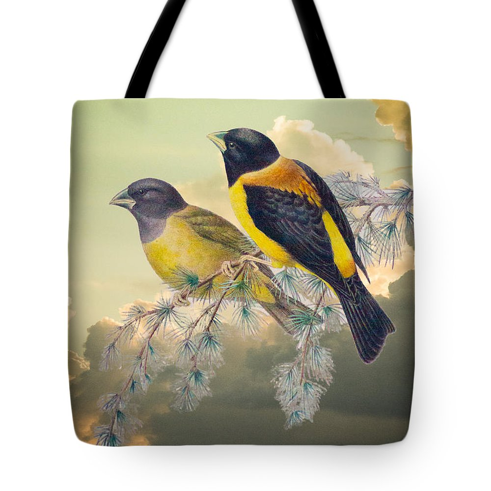 Ethereal Tote Bag featuring the photograph Ethereal Birds On Snowy Branch by Douglas Barnett