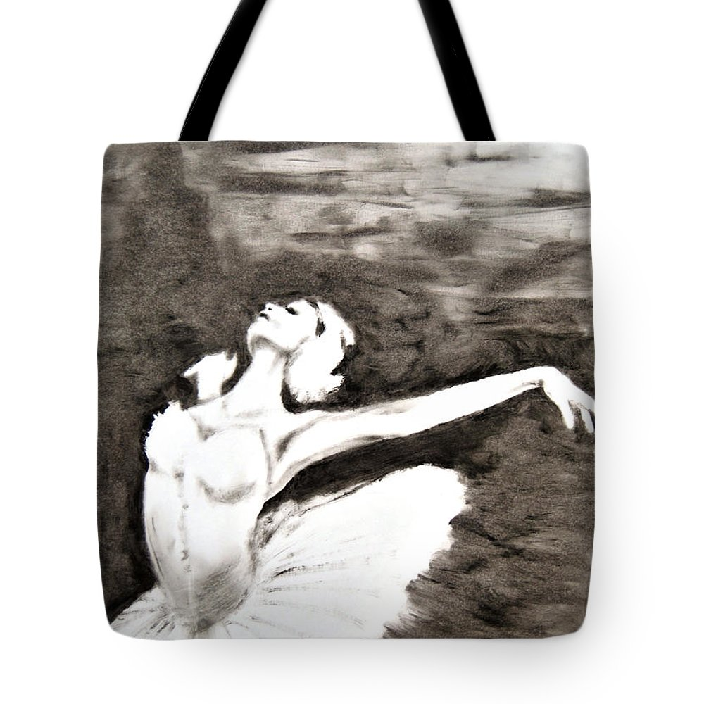Ballerina Tote Bag featuring the painting Ethereal Black And White Ballerina Poster 4 - By Diana Van by Diana Van
