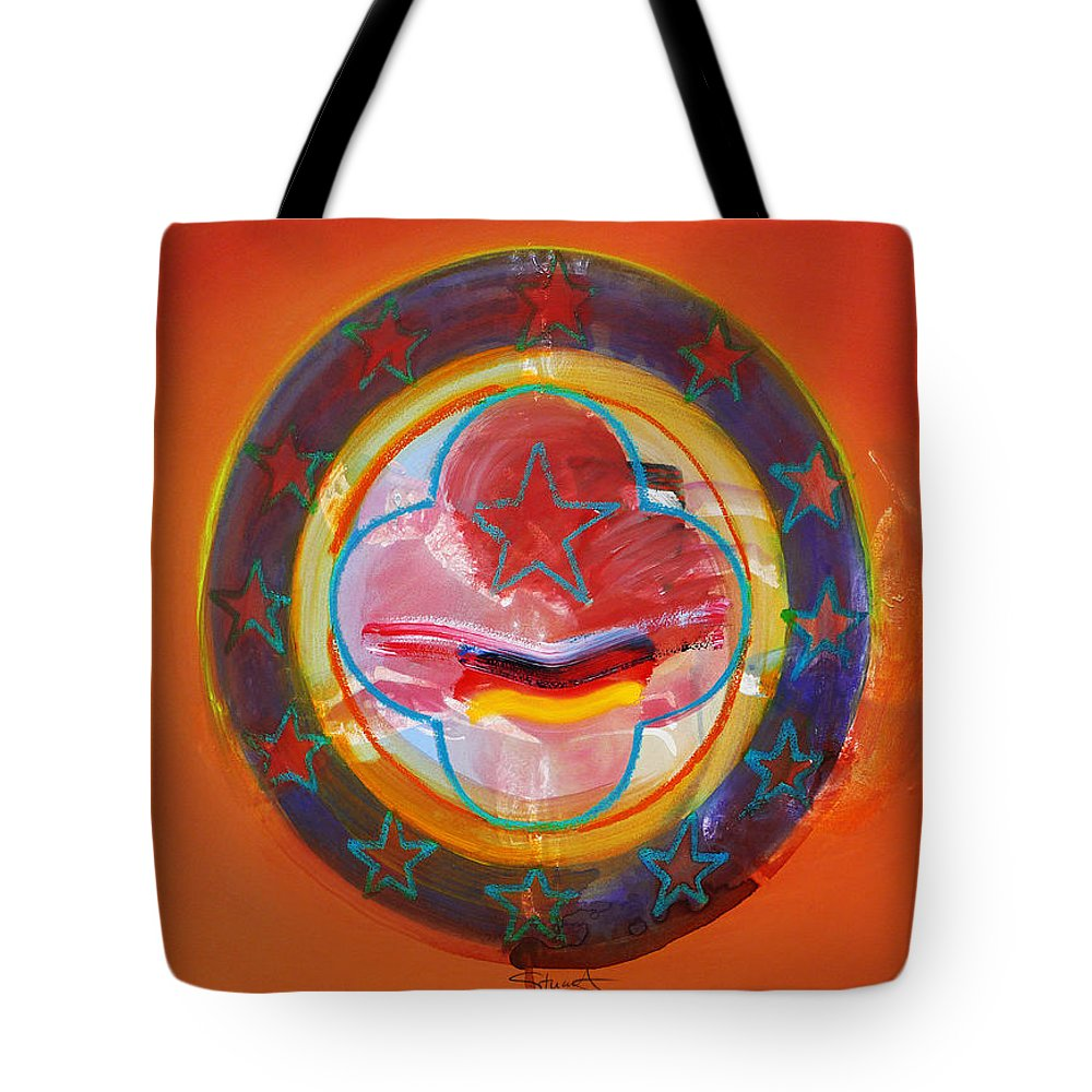 Symbol Tote Bag featuring the painting Euro Smile by Charles Stuart