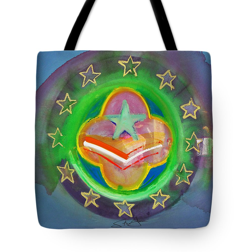 Symbol Tote Bag featuring the painting Euro Star And Stripes by Charles Stuart