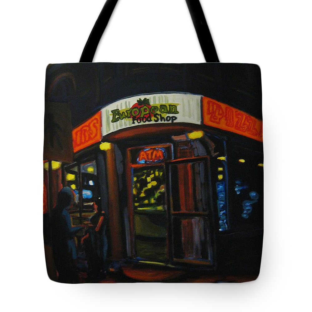 City Tote Bag featuring the painting European Food Shop by John Malone