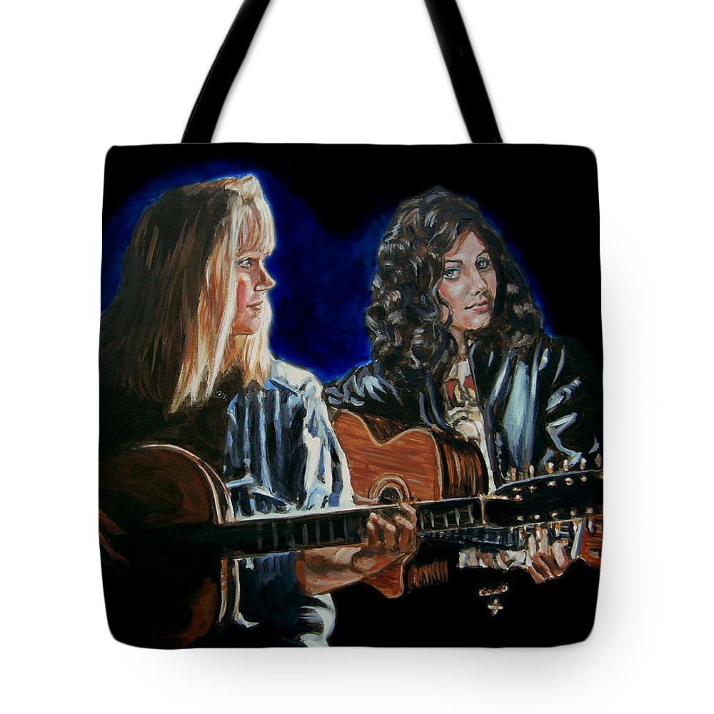 Katie Melua Tote Bag featuring the painting Eva Cassidy And Katie Melua by Bryan Bustard