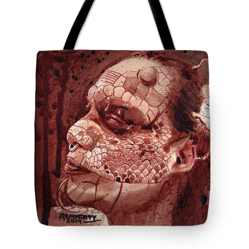 Eva Medusa Tote Bag featuring the painting Eva Medusa - Lizard Woman by Ryan Almighty