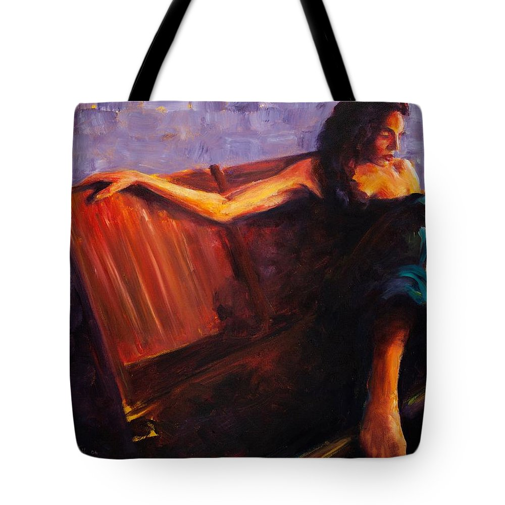 Figure Tote Bag featuring the painting Even Though by Jason Reinhardt