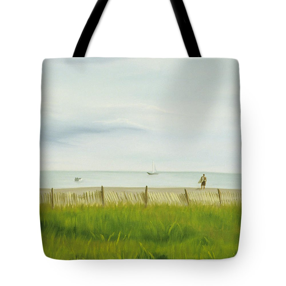 Seascape Tote Bag featuring the painting Evening At Cape May by Lea Novak