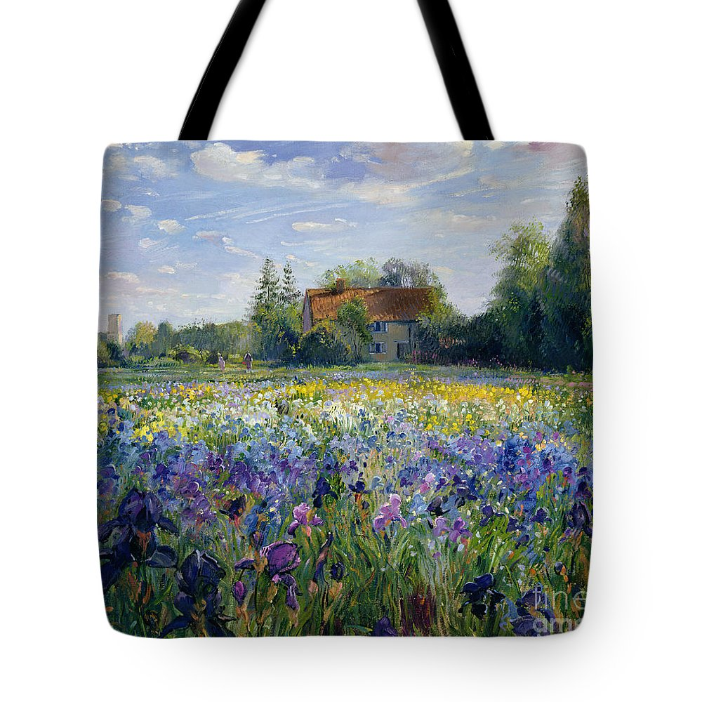 Landscape; Market Gardening; Flowers; Horticulture;cottage; Summer; Rural; Irises; Landscapes Tote Bag featuring the painting Evening At The Iris Field by Timothy Easton