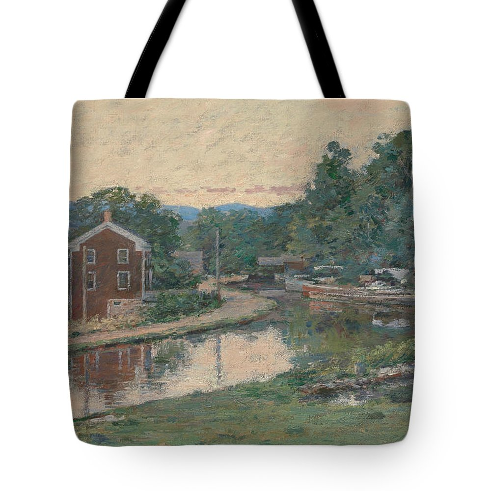 Theodore Robinson Tote Bag featuring the painting Evening At The Lock, Napanoch, New York by Theodore Robinson