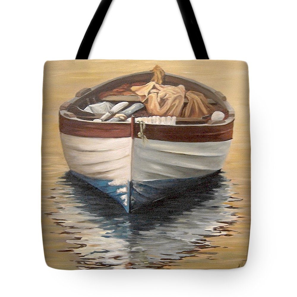 Boats Reflection Seascape Water Tote Bag featuring the painting Evening Boat by Natalia Tejera