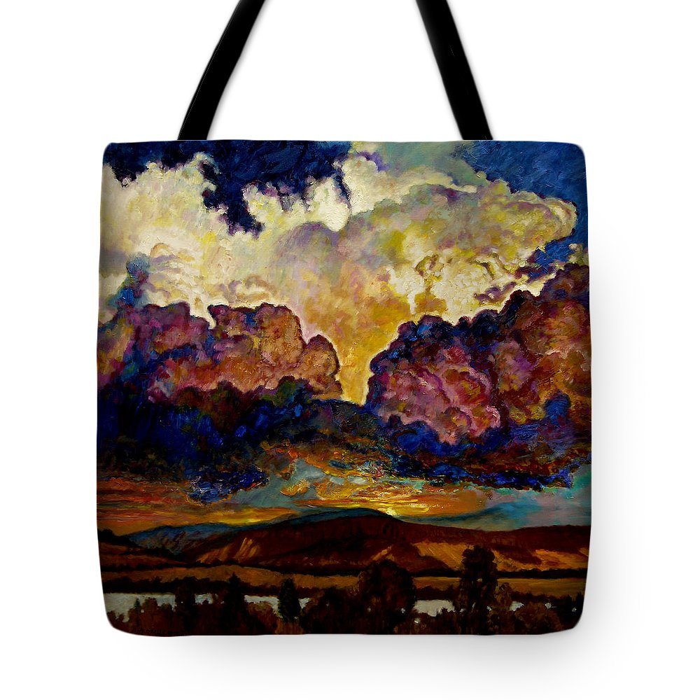Sunset Tote Bag featuring the painting Evening Clouds Over The Valley by John Lautermilch