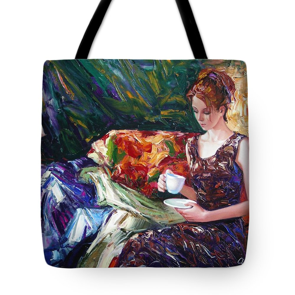 Figurative Tote Bag featuring the painting Evening coffee by Sergey Ignatenko