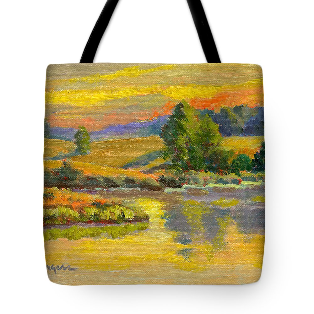 Landscape Tote Bag featuring the painting Evening Color by Keith Burgess