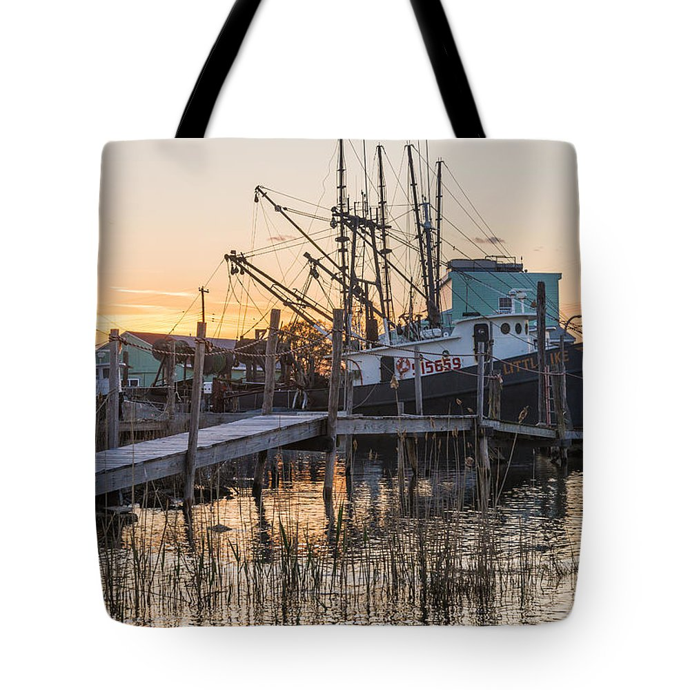 New Jersey Tote Bag featuring the photograph Evening Docks by Kristopher Schoenleber