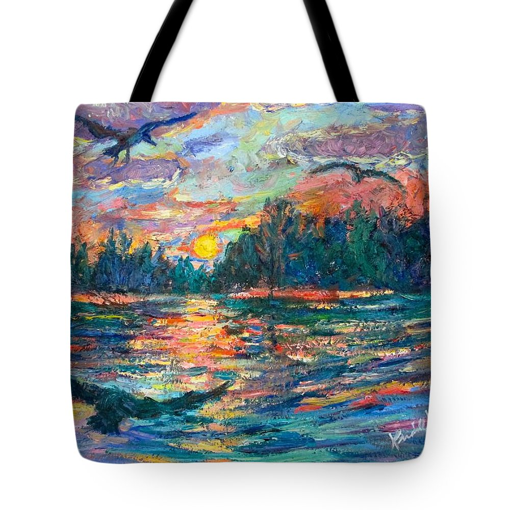 Landscape Tote Bag featuring the painting Evening Flight by Kendall Kessler