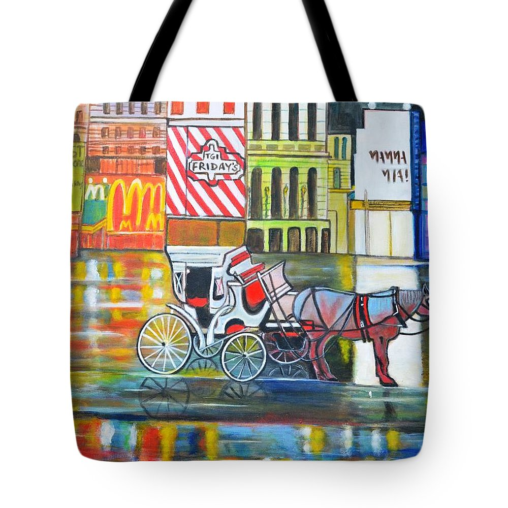 Landscape Horse New York City Usa Carriage Mcdonald Tgi Friday Lion King Mama Mia Red Yellow Orange Blue Purple Wheels Buildings Cityscape Tote Bag featuring the painting Evening In New York by Manjiri Kanvinde