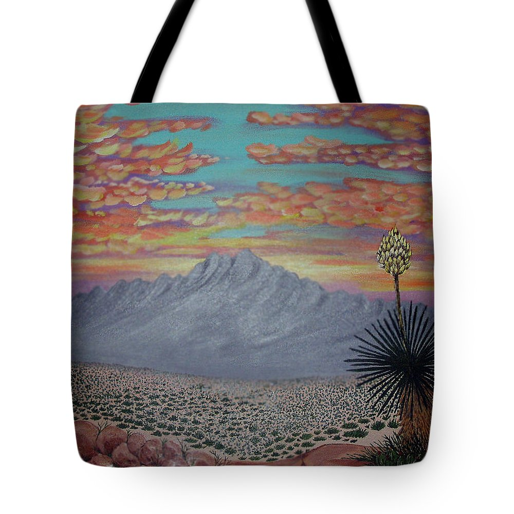 Desertscape Tote Bag featuring the painting Evening In The Desert by Marco Morales