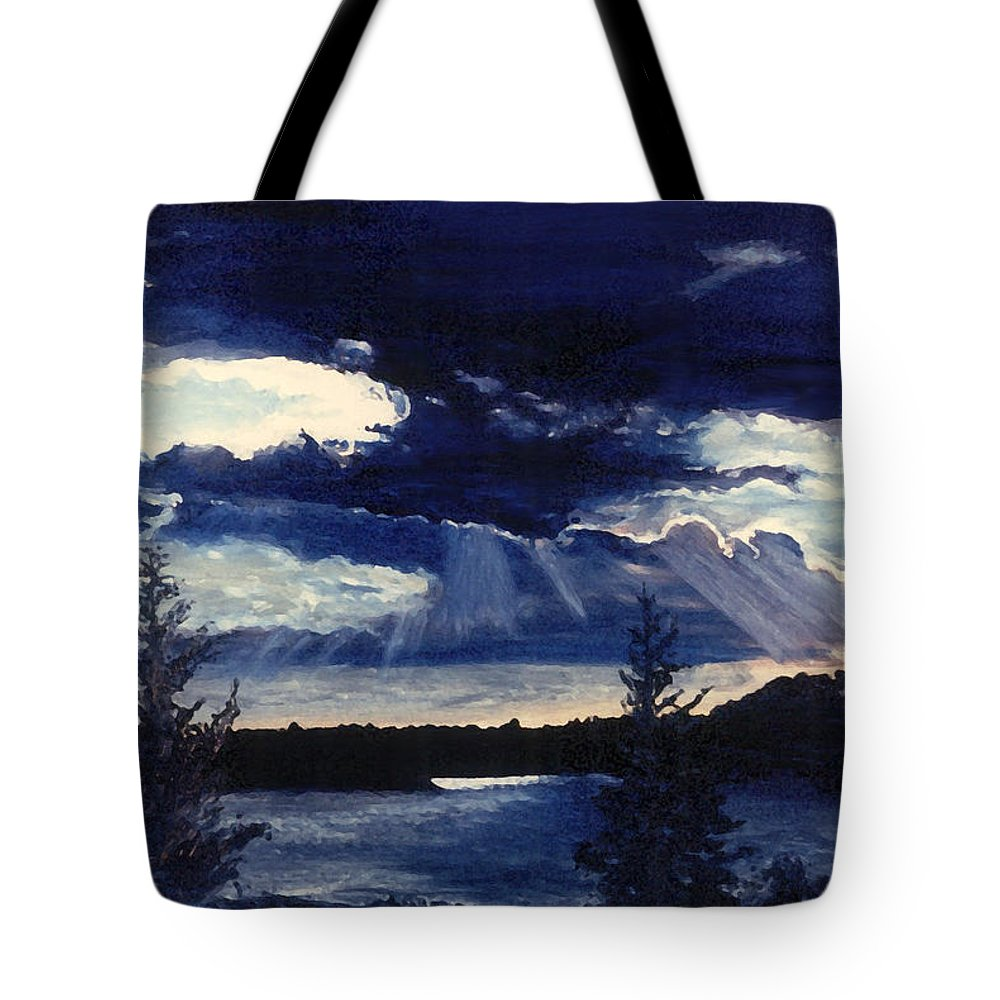 Landscape Tote Bag featuring the painting Evening Lake by Steve Karol