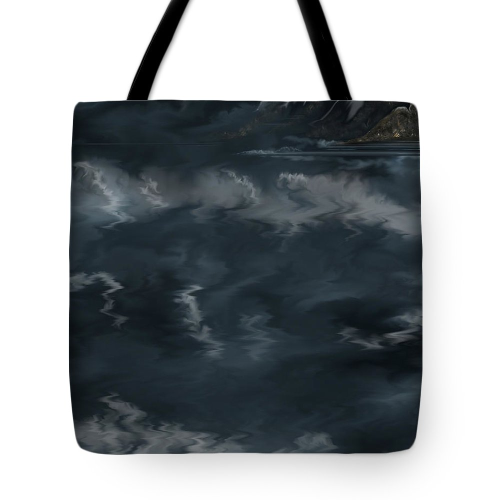 Seascape Tote Bag featuring the painting Evening Lights And Rocks by Anne Norskog