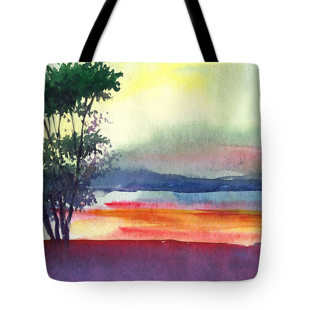 Water Color Tote Bag featuring the painting Evening Lights by Anil Nene