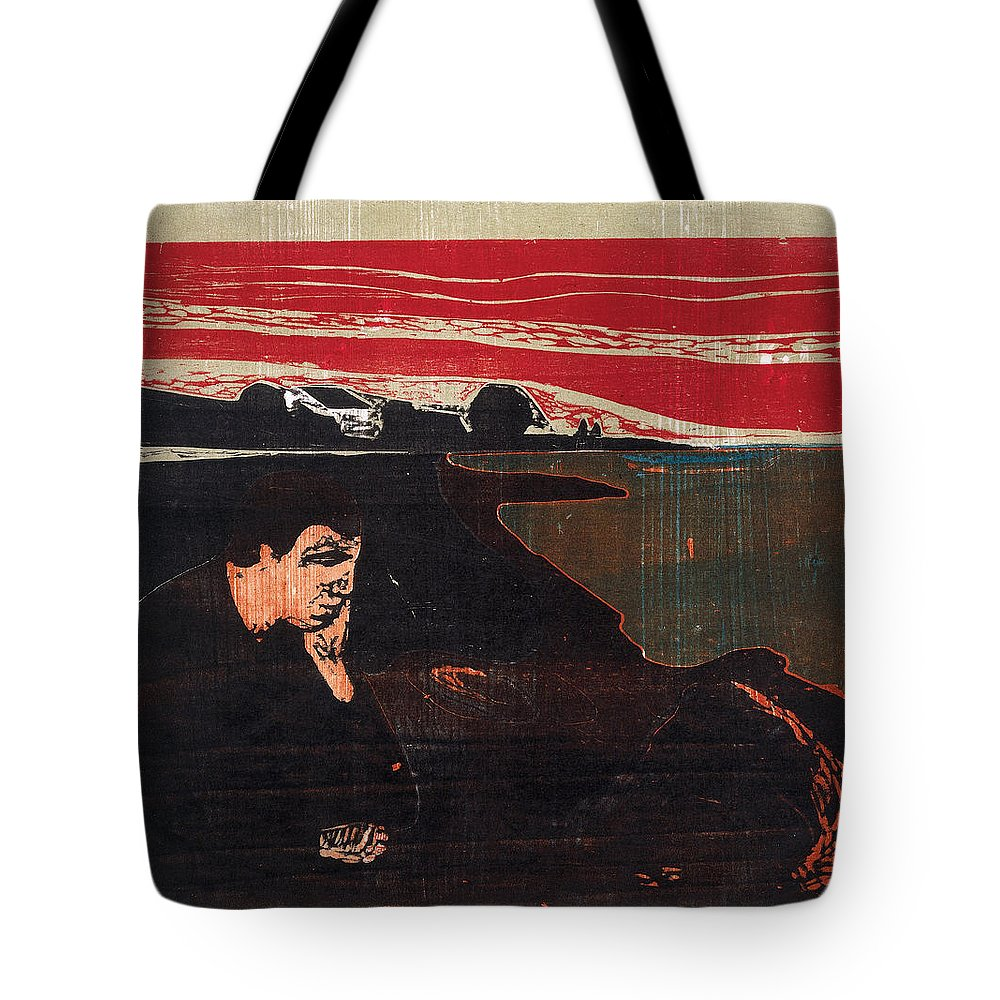 Edvard Munch Tote Bag featuring the drawing Evening. Melancholy by Edvard Munch
