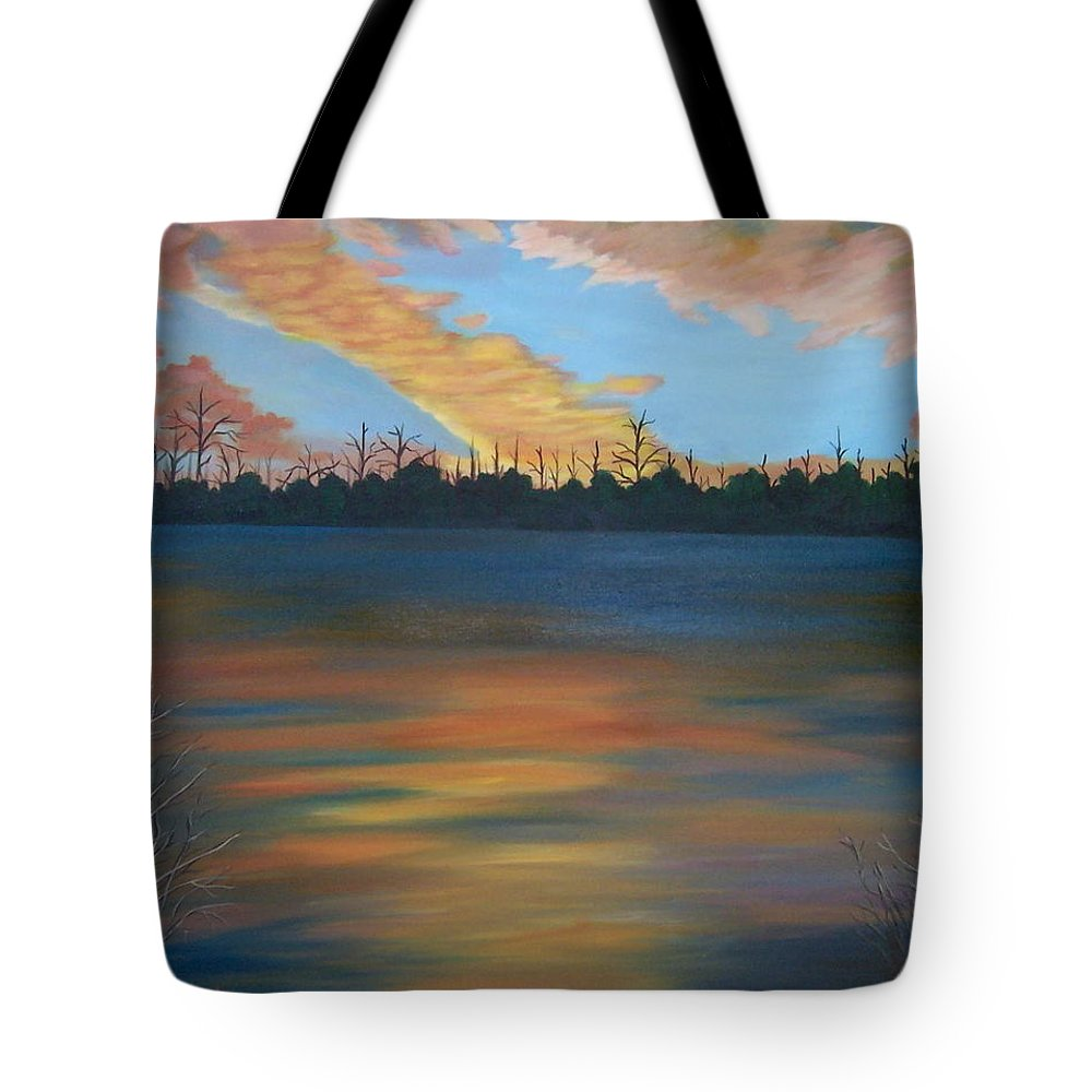 Landscape Tote Bag featuring the painting Evening Peace by Ruth Housley