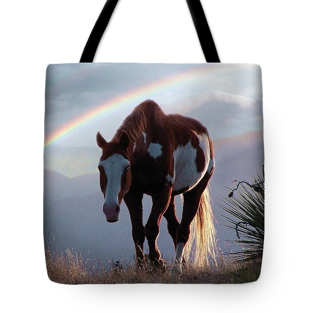 Horses Tote Bag featuring the mixed media Evening Promise by Bill Stephens