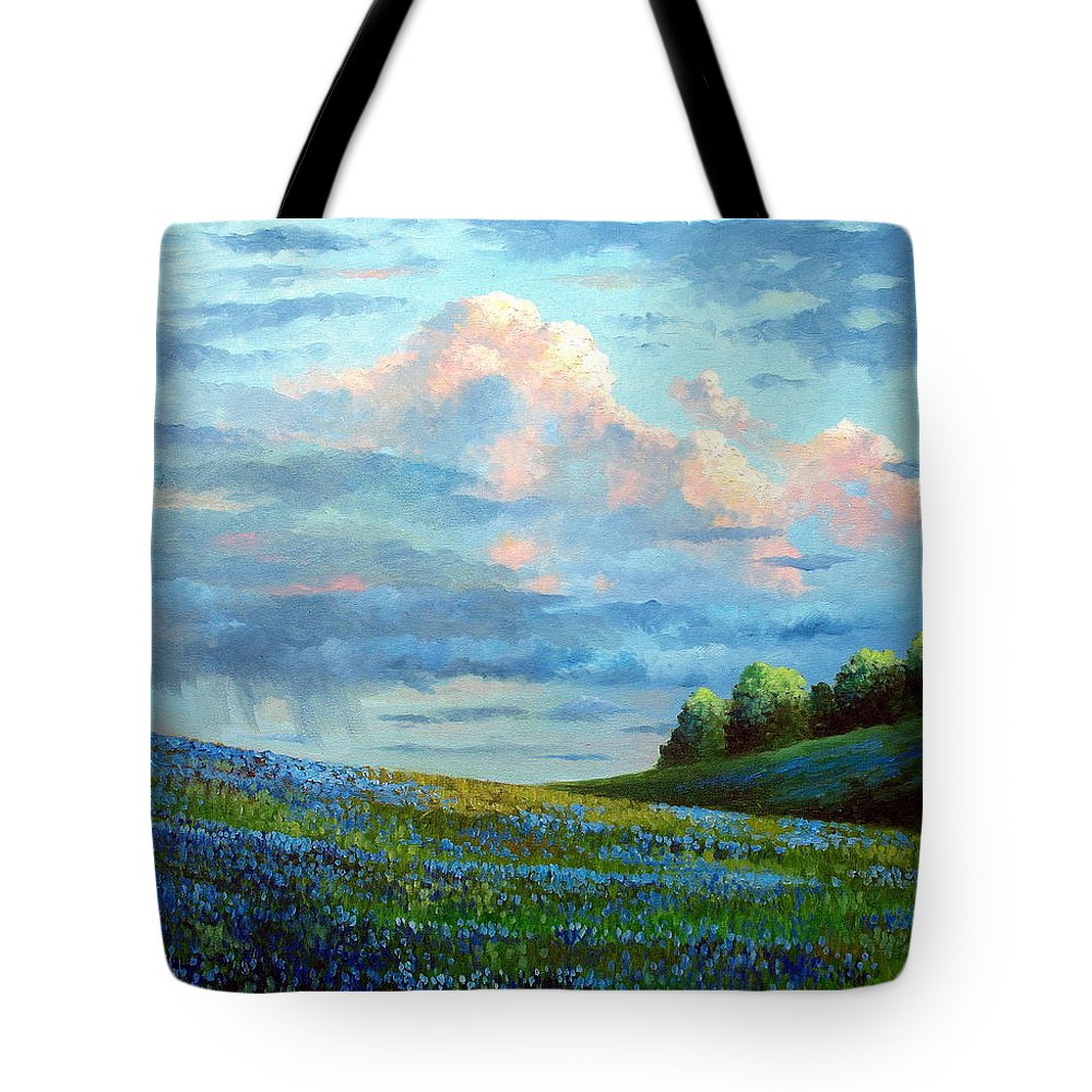 Landscape Tote Bag featuring the painting Evening Rain by David G Paul