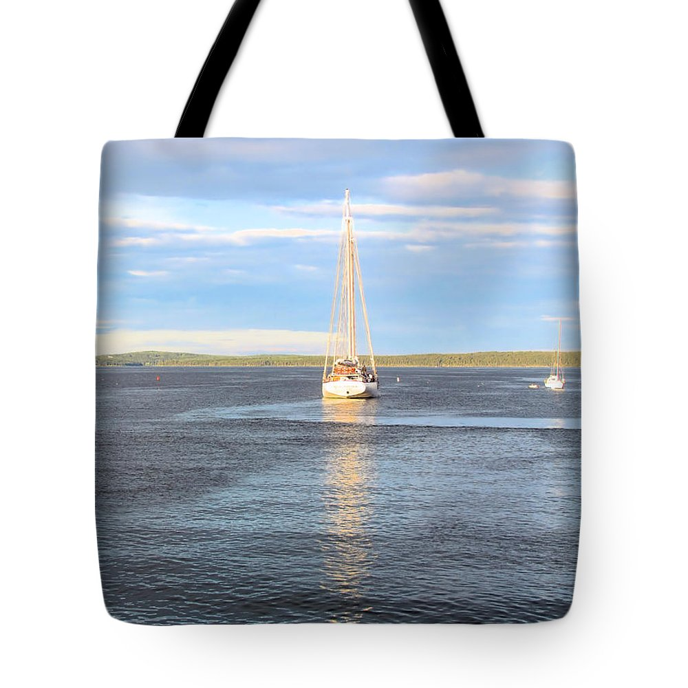 Sailboat Tote Bag featuring the photograph Evening Sail In Frenchman's Bay by Elizabeth Dow