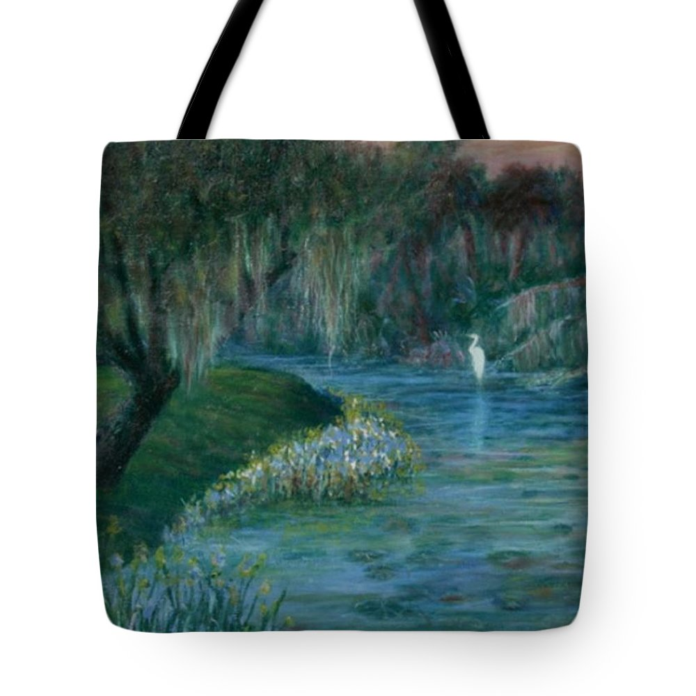Low Country; Egrets; Lily Pads Tote Bag featuring the painting Evening Shadows by Ben Kiger