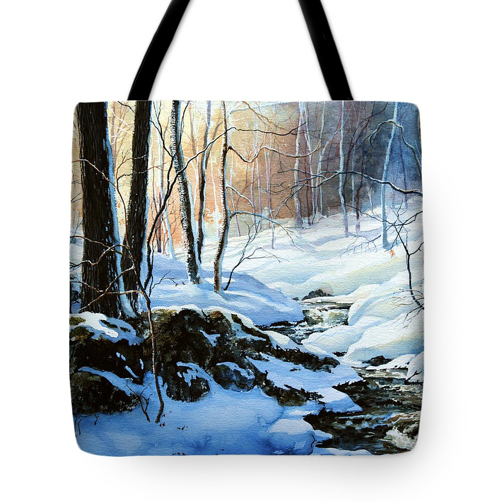 Winter Sunset Art Prints Tote Bag featuring the painting Evening Shadows by Hanne Lore Koehler