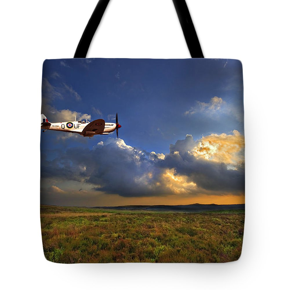 Spitfire Tote Bag featuring the photograph Evening Spitfire by Meirion Matthias