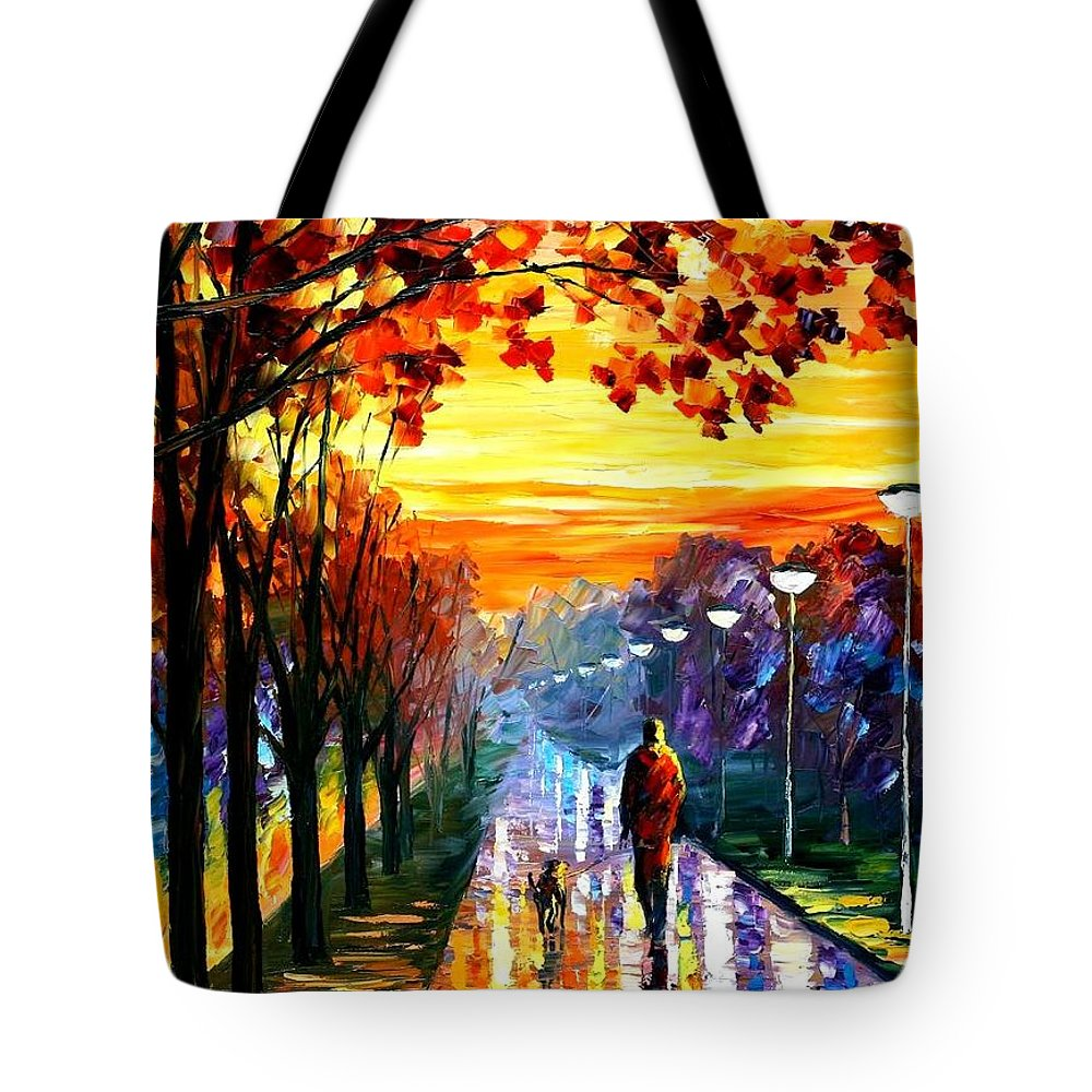 Afremov Tote Bag featuring the painting Evening Stroll by Leonid Afremov
