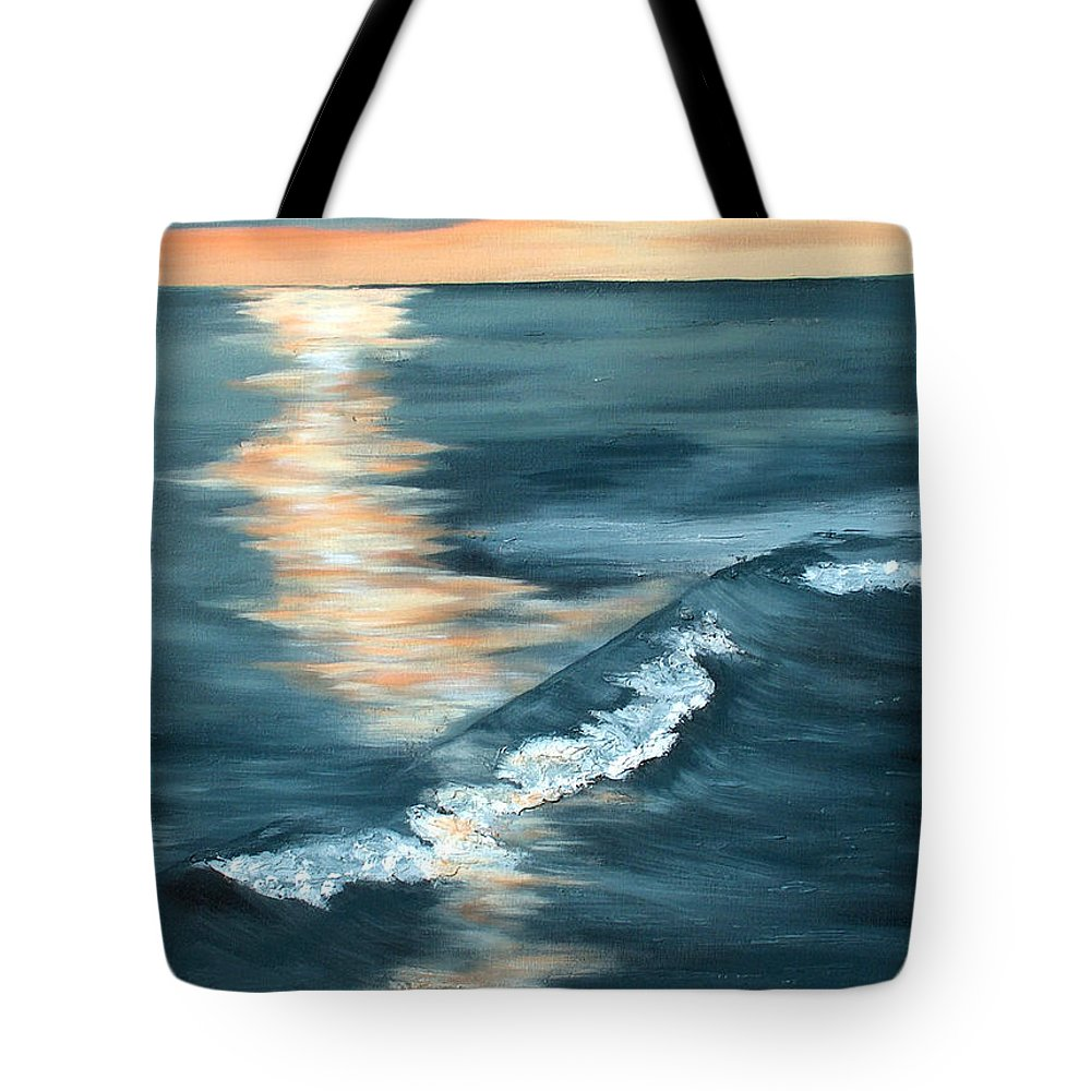 Beach Sunset Tote Bag featuring the painting Evening Sunset by Racquel Morgan