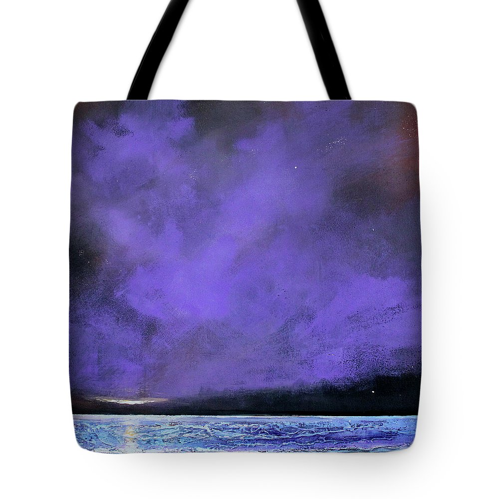 Landscape Tote Bag featuring the painting Evenings End by Toni Grote