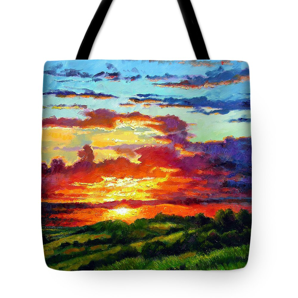 Sunset Tote Bag featuring the painting Evenings Final Glow by John Lautermilch