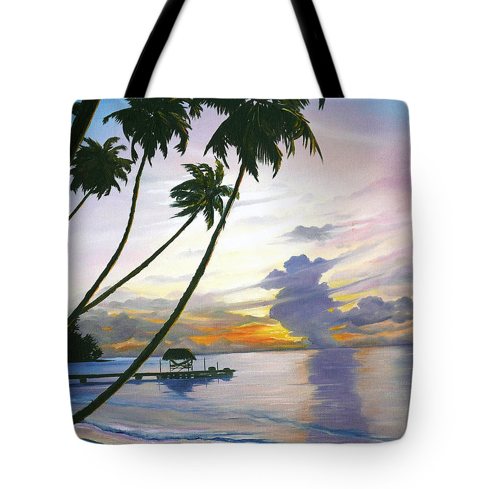 Ocean Painting Seascape Painting Beach Painting Sunset Painting Tropical Painting Tropical Painting Palm Tree Painting Tobago Painting Caribbean Painting Original Oil Of The Sun Setting Over Pigeon Point Tobago Tote Bag featuring the painting Eventide Tobago by Karin Dawn Kelshall- Best