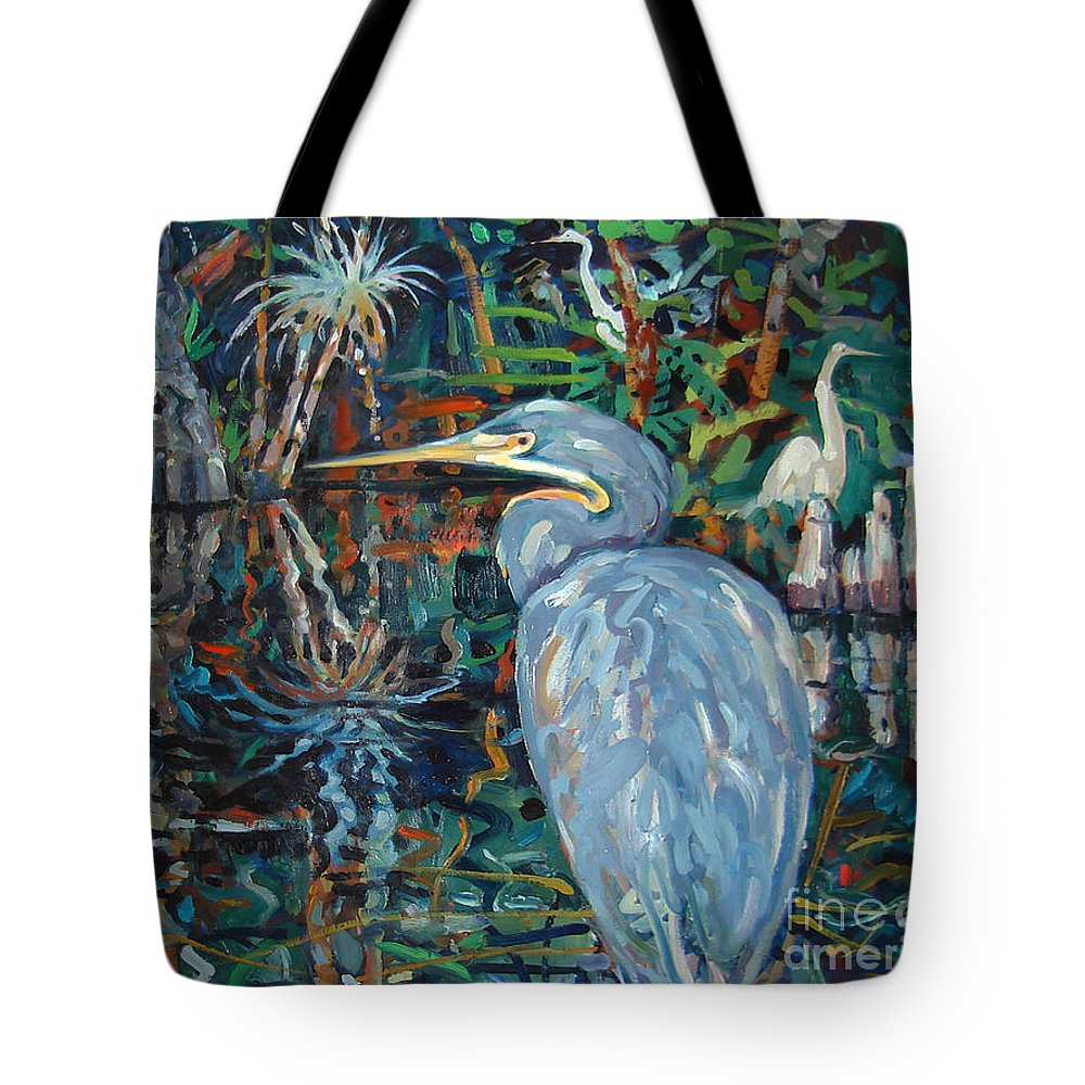 Blue Herron Tote Bag featuring the painting Everglades by Donald Maier
