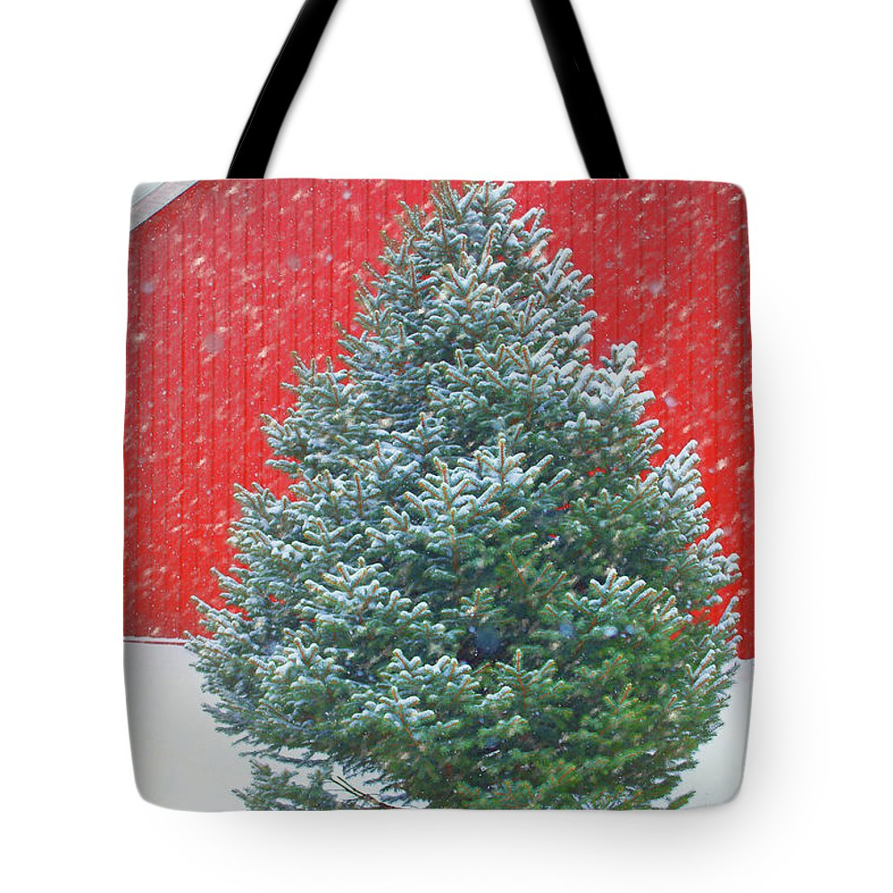 Winter Tote Bag featuring the photograph Evergreen In Winter #1 by Nikolyn McDonald